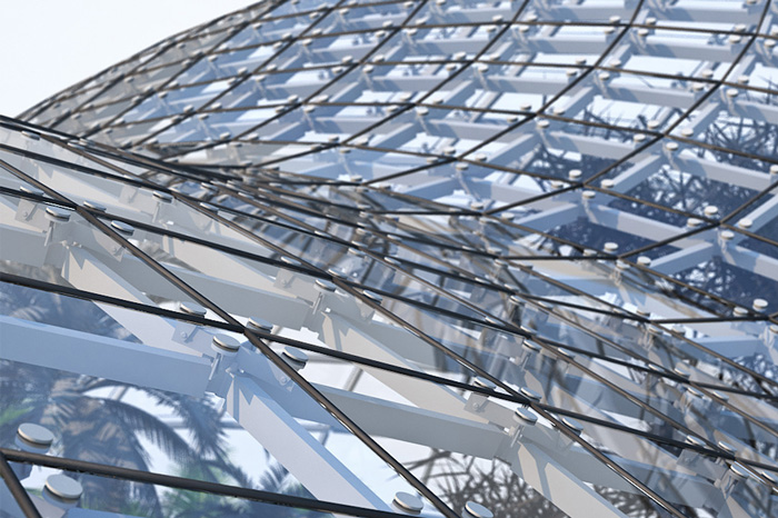Closeup visualization of a steel and glass structure
